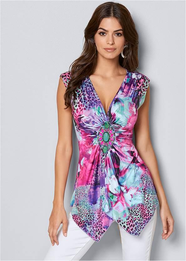 Trim Detail Mixed Print Top,Mid Rise Color Skinny Jeans,Cupid U Plunge Bra