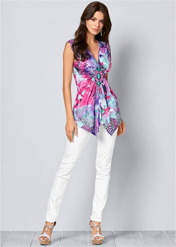 Front view Trim Detail Mixed Print Top