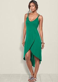 strap detail high low dress