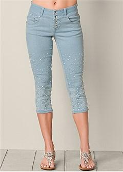 embellished jean capris