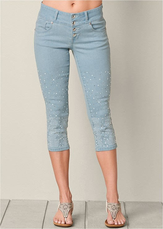 EMBELLISHED JEAN CAPRIS,LACE BUTTON FRONT TOP,SEAMLESS CAMI