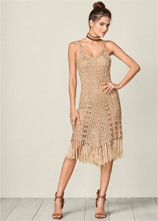 FRINGE HEM CROCHET DRESS,RAFFIA DETAIL HEEL