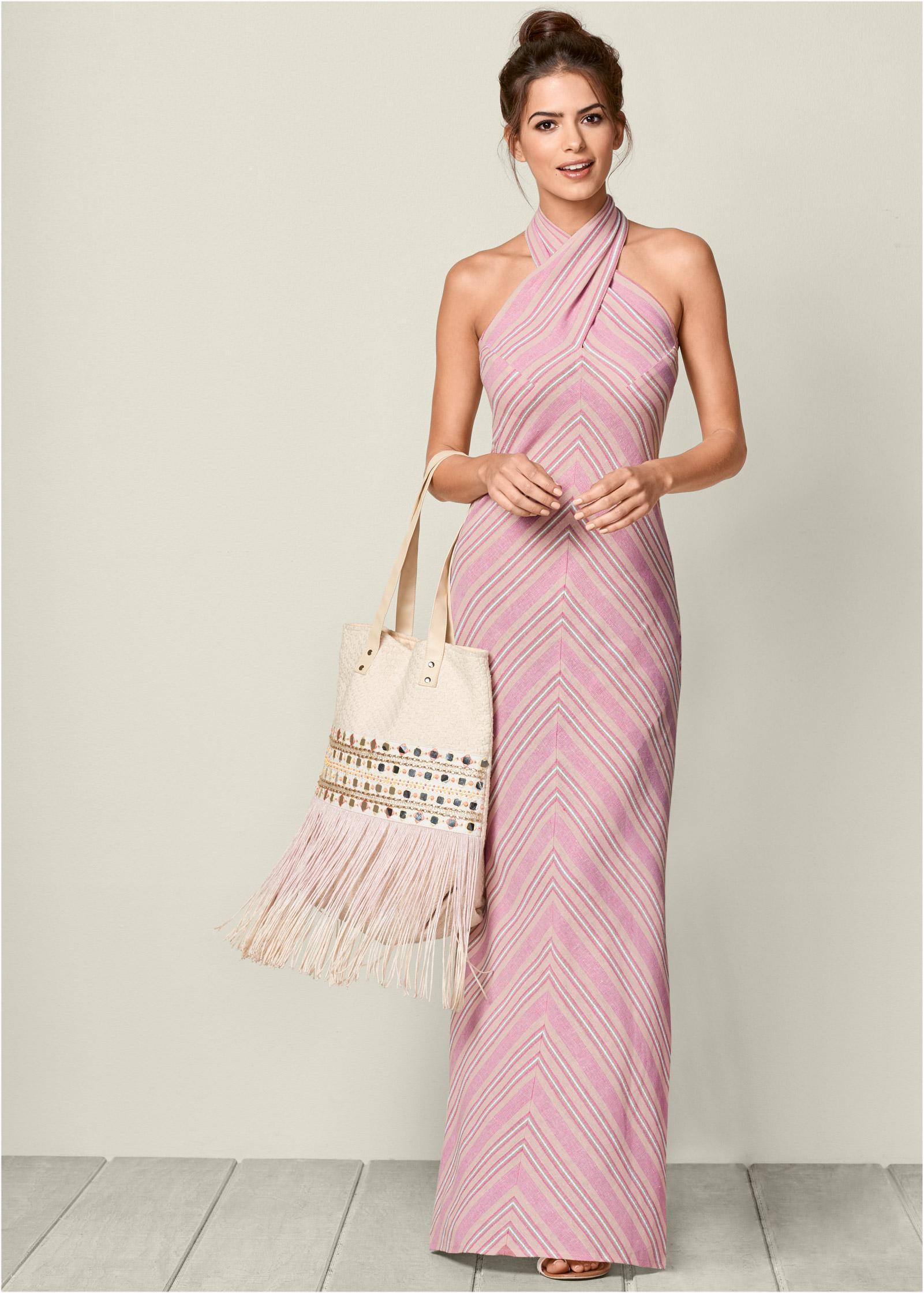 Halter maxi dress with embellished waist belt