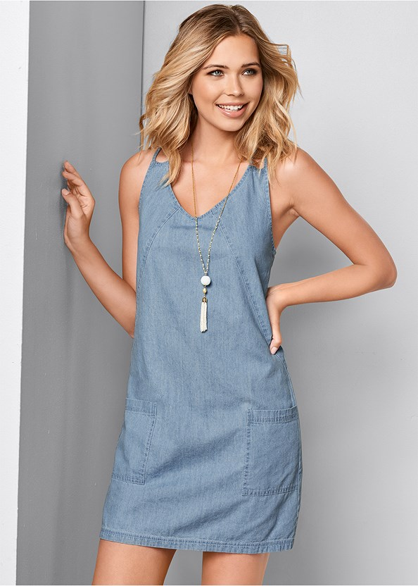 Chambray Mini Dress,Lace Up Gladiator Sandals