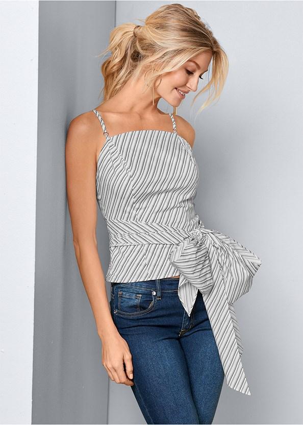 Bow Front Square Neck Top,Mid Rise Color Skinny Jeans,Color Capri Jeans,Jean Jacket,Circle Detail Handbag