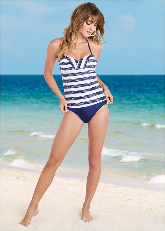 BANDEAU TANKINI TOP,HIGH WAIST MODERATE BOTTOM