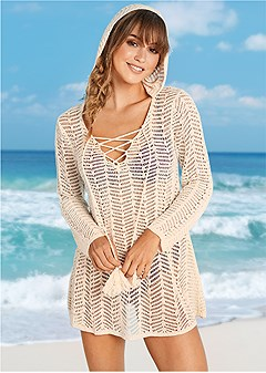 lace up hooded cover-up