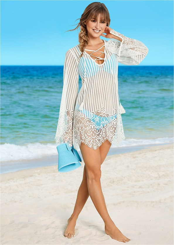 Lace Up Crochet Cover-Up,Marilyn Underwire Push Up Halter Top,Goddess Low Rise Bottom