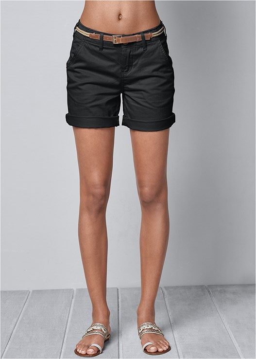 BELTED CUFFED SHORTS,SQUARE NECK TANK TOP