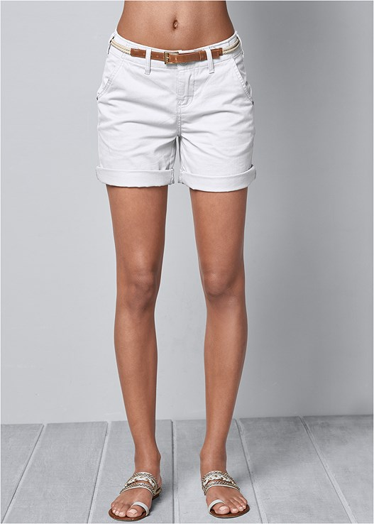 BELTED CUFFED SHORTS,LACE UP SHOULDER TEE