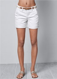 Front view Belted Cuffed Shorts