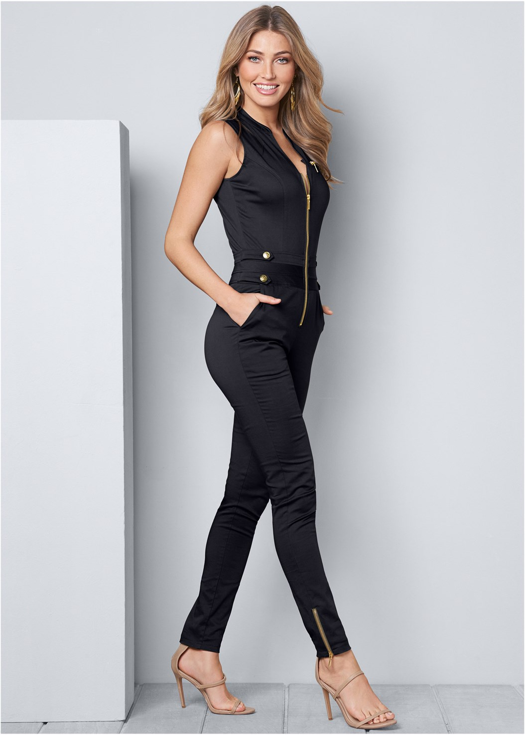 Zip Front Jumpsuit,High Heel Strappy Sandals