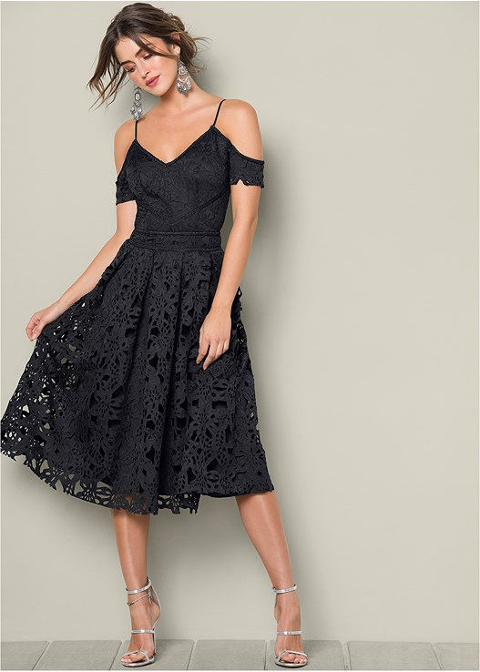 LACE MIDI DRESS,HIGH HEEL STRAPPY SANDALS,EVERYDAY YOU STRAPLESS BRA