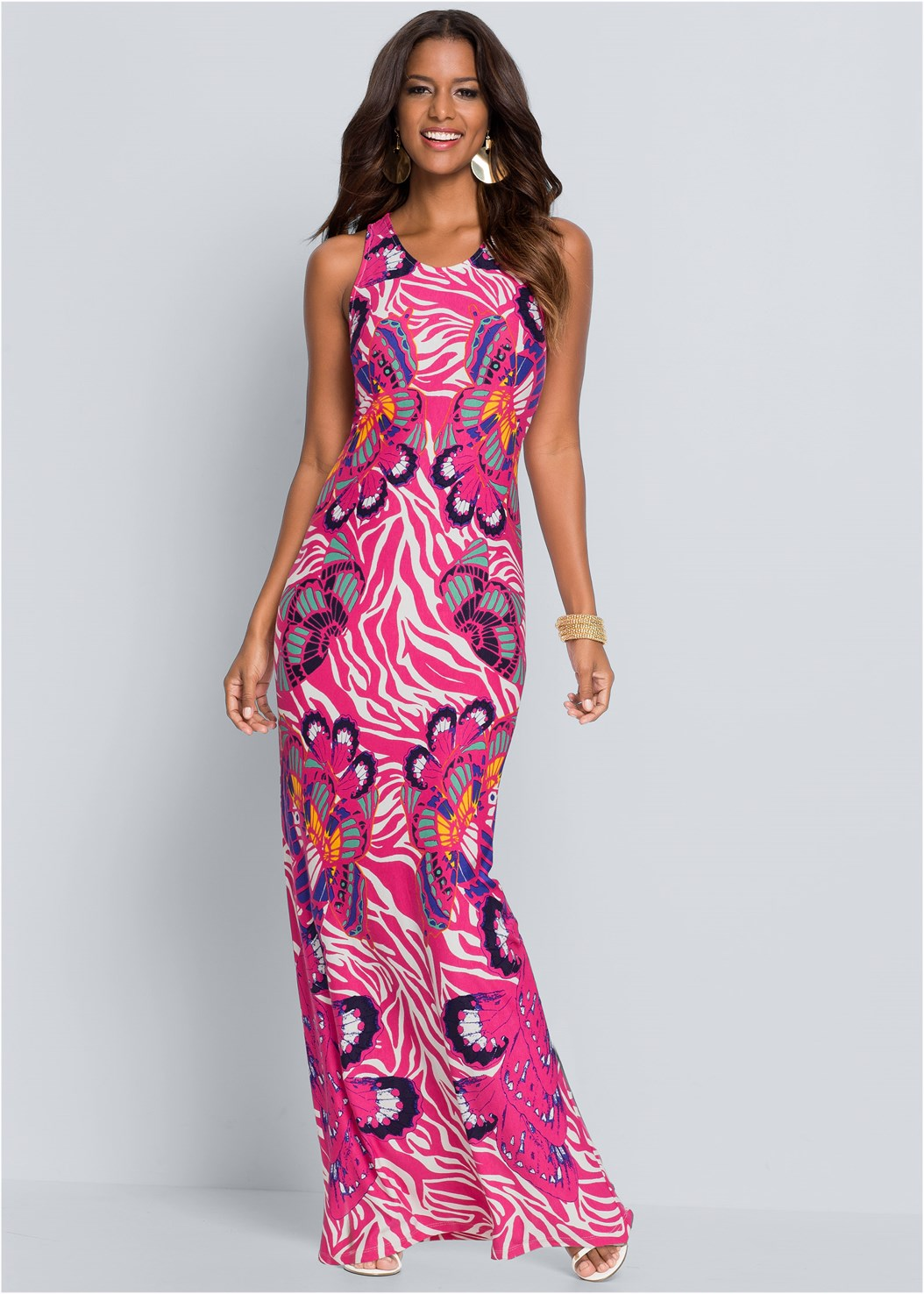 Abstract Printed Maxi Dress,Tassel Earrings