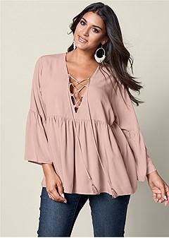 plus size lace up flounce blouse