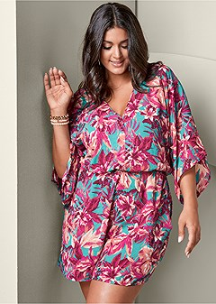 plus size tropical print romper