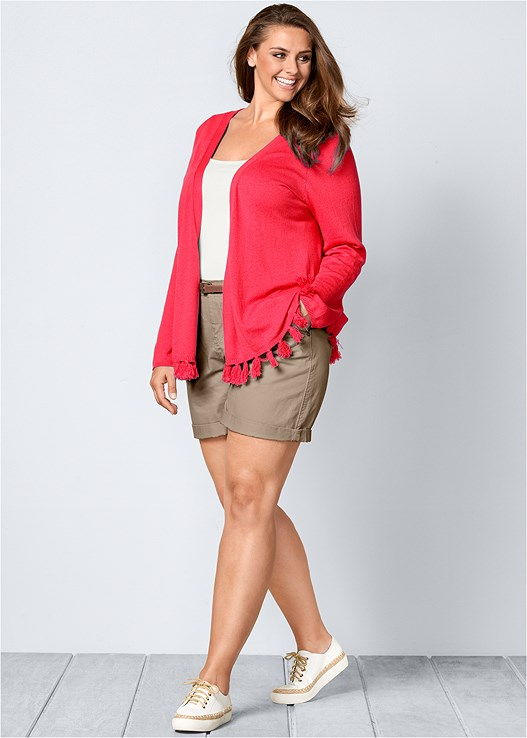 TASSEL DETAIL CARDIGAN,SQUARE NECK TANK TOP,BELTED CUFFED SHORTS