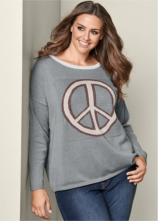 PEACE SIGN SWEATER,COLOR SKINNY JEANS,WRAP STITCH DETAIL BOOTIES