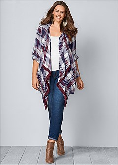 plus size plaid and fringe cardigan