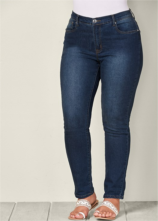 COLOR SKINNY JEANS,EMBROIDERED LAYERED TOP,WRAP STITCH DETAIL BOOTIES