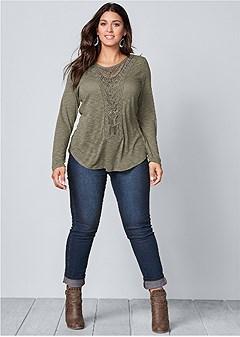 plus size crochet front top
