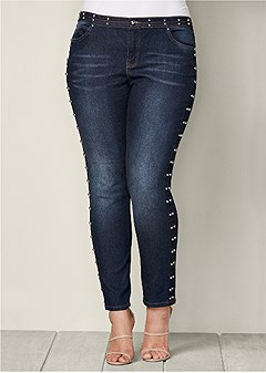 plus size side stud detail jeans