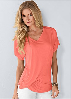 plus size draped v-neck top