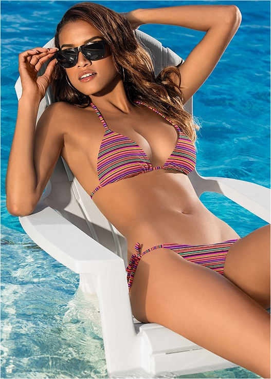 TRIANGLE BIKINI TOP,SCOOP FRONT BIKINI BOTTOM,LOW RISE BIKINI BOTTOM,HIGH WAIST MODERATE BOTTOM