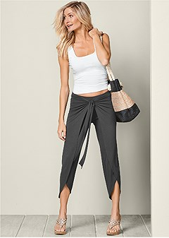 belted wrap front pants