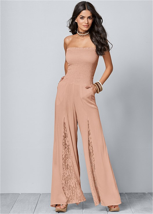 SMOCKED JUMPSUIT,VENUS CUPID BRA,EMBELLISHED WEDGES