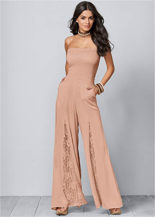 Alternate View Lace Inset Smocked Jumpsuit