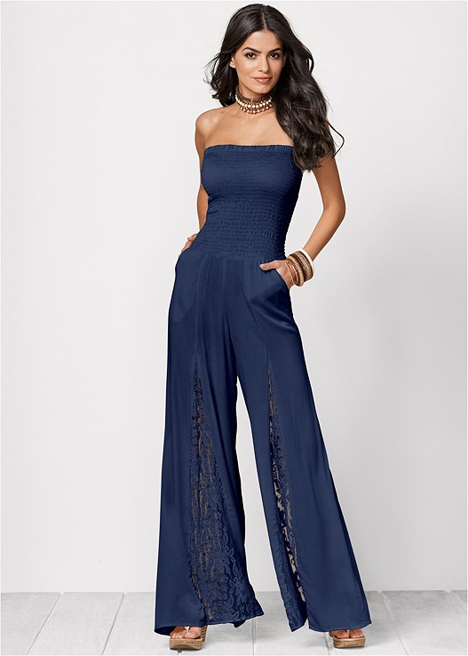 SLEEVELESS SMOCKED JUMPSUIT WITH LACE DETAIL,EMBELLISHED WEDGES,NATURAL BEAUTY LACE BANDEAU