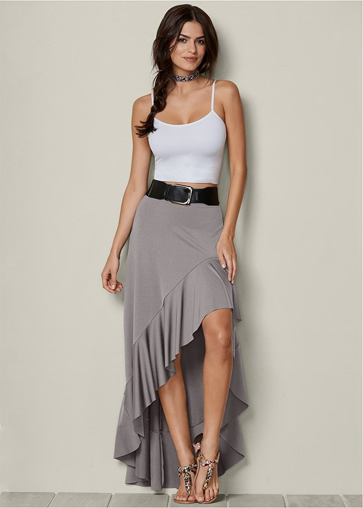 BELTED HIGH LOW SKIRT,SEAMLESS CAMI,EMBELLISHED ROPE SANDALS,BEADED CHOKER