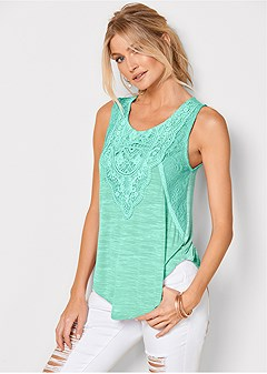 lace detail scoop neck top