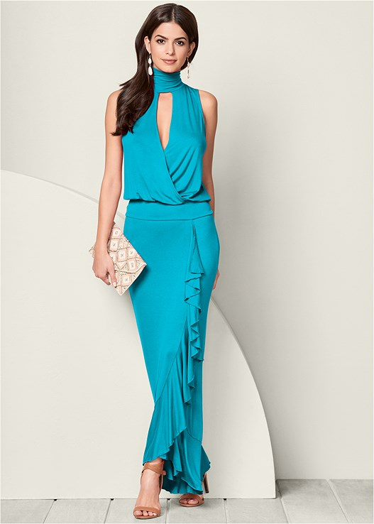 RUFFLE DETAIL MAXI DRESS,RAFFIA DETAIL HEEL