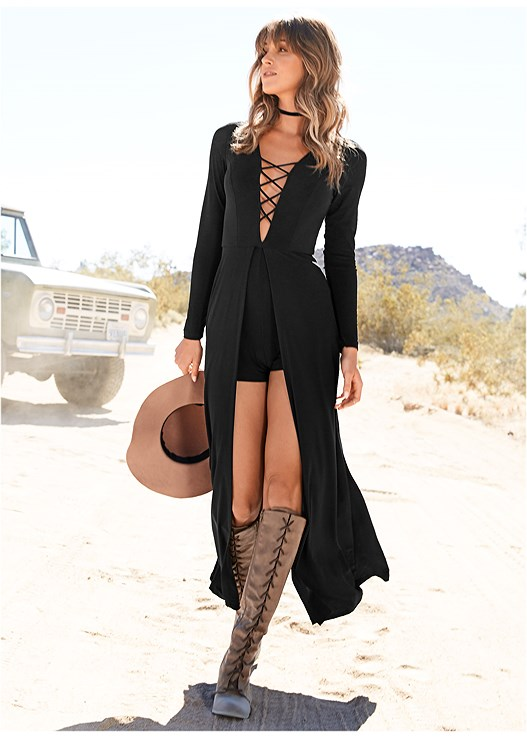 LACE UP ROMPER,CONFIDENCE INVISIBLE BRA,HIGH HEEL STRAPPY SANDALS
