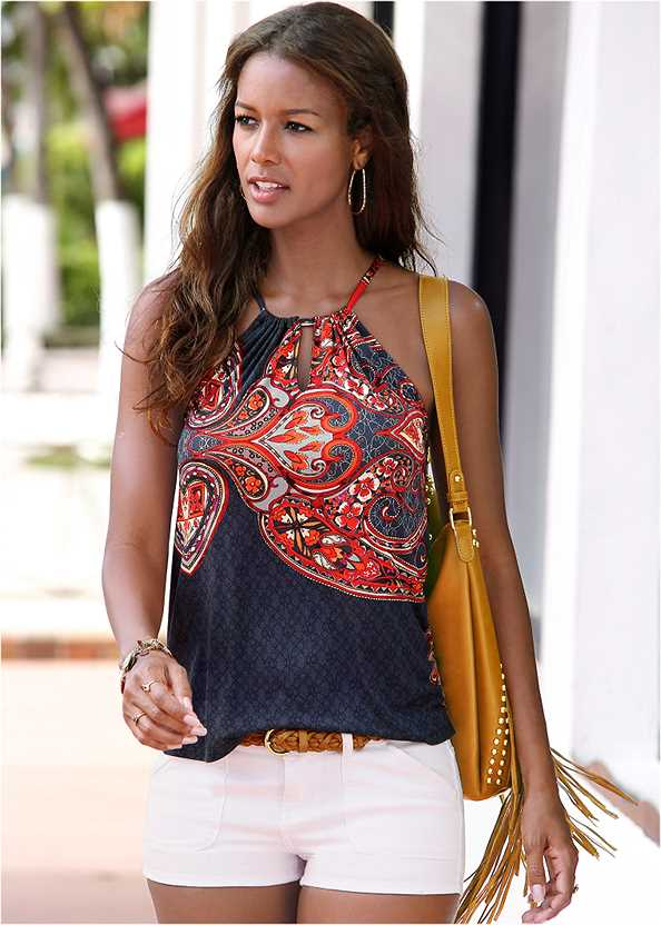 Paisley Printed Tank,Frayed Cut Off Jean Shorts,Textured Wide Strap Flatform Wedge,Beaded Rope Earrings,Canvas Striped Tote Bag