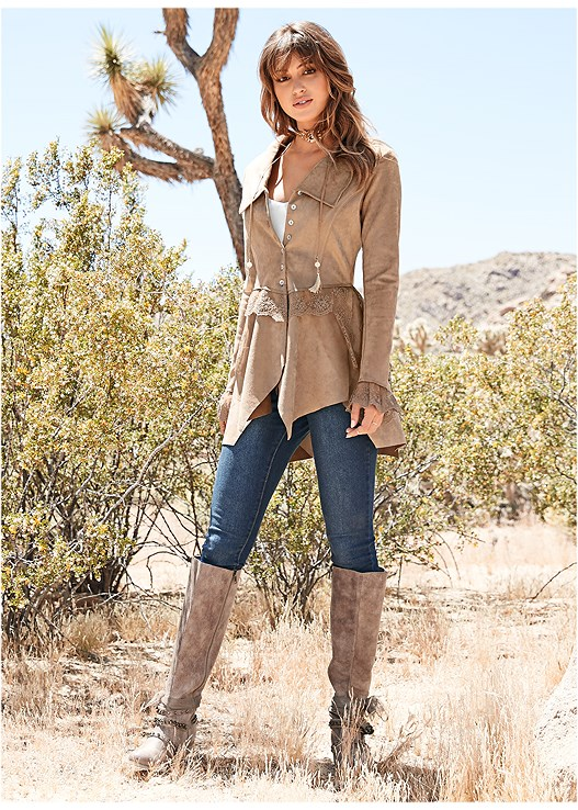 FAUX SUEDE AND LACE JACKET,BASIC V-NECK TANK,COLOR SKINNY JEANS,EMBELLISHED WESTERN BOOTS