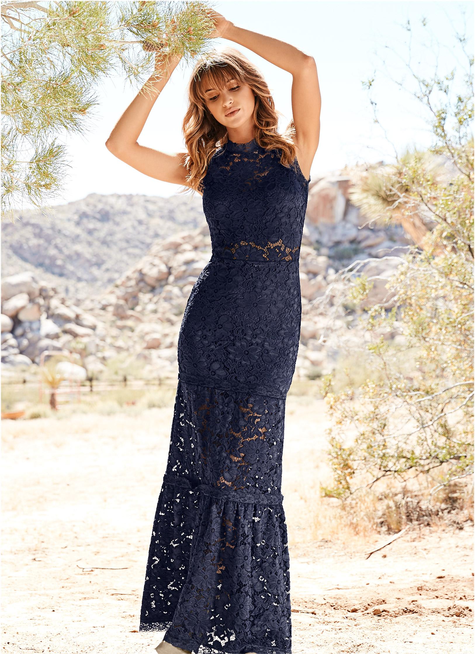 Navy Lace Long Dress