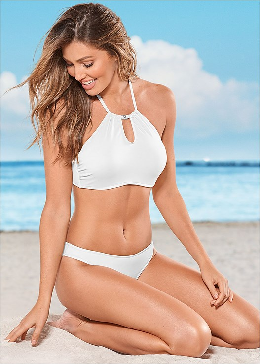 KEYHOLE HIGH NECK TOP,LOW RISE BIKINI BOTTOM,LOW RISE BIKINI BOTTOM,SKIRTED SWIM BIKINI BOTTOM,JUST MARRIED BOTTOM,HIGH WAIST MODERATE BOTTOM