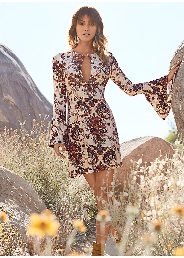 Paisley Boho Dress,Beaded Drop Earrings
