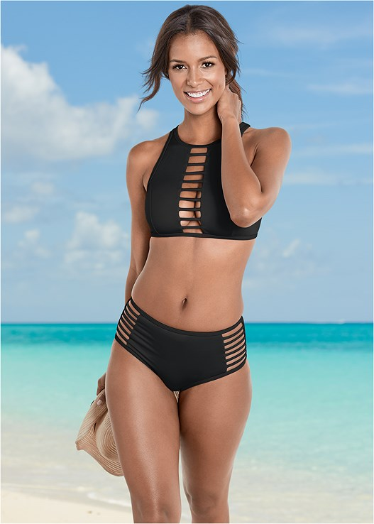 ALLURING HIGH NECK TOP,ALLURING HIGH WAIST BOTTOM,MID RISE MODERATE BOTTOM,MID RISE FULL CUT BOTTOM,SWIM SHORT,RING HANDLE STRAW TOTE