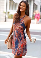 paisley printed mini dress