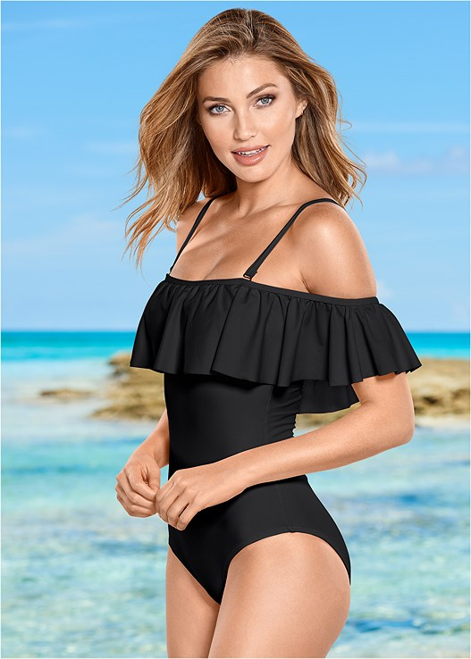 541e9d9f023 RUFFLE ONE-PIECE Swimsuit in Black Beauty