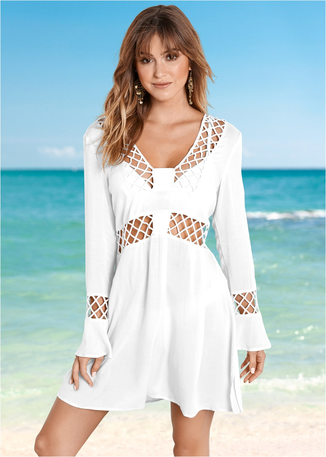 Caged Detail Cover-Up,Scoop Front Bikini Bottom