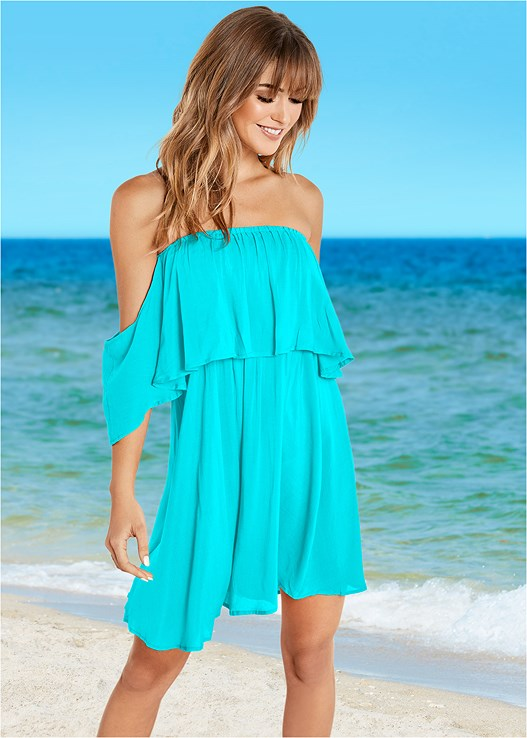 OFF THE SHOULDER COVER-UP,TRIANGLE BIKINI TOP,SCOOP FRONT BIKINI BOTTOM
