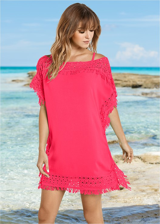 CROCHET TRIM COVER-UP,UNDERWIRE PUSH UP TOP,BRAIDED DETAIL BOTTOM