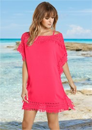 Front View Crochet Trim Cover-Up