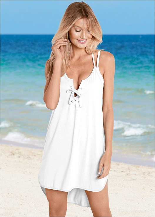 LACE UP HIGH LOW COVER-UP