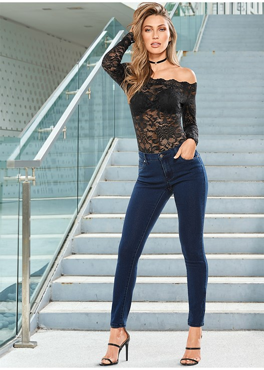 OFF-SHOULDER LACE BODYSUIT,EVERYDAY YOU STRAPLESS BRA,BUM LIFTER JEANS,HIGH HEEL STRAPPY SANDAL